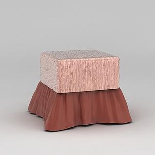 粉色沙发凳3d模型
