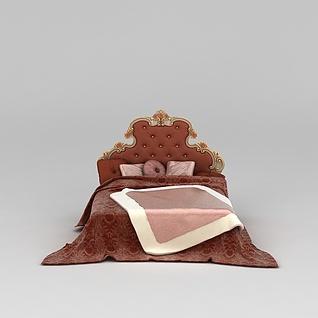 欧式双人床3d模型