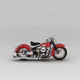 红色复古摩托车3d模型3d模型