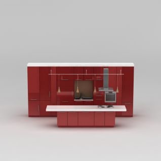 红色橱柜3d模型