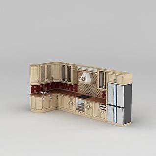 实木橱柜3d模型