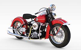 3d红色复古<font class='myIsRed'>摩托车</font>模型