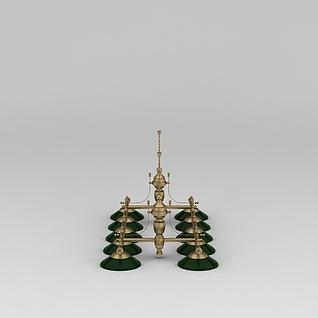 个性铜吊灯3d模型
