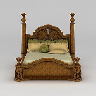 美式双人床3d模型