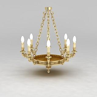 纯铜蜡烛吊灯3d模型