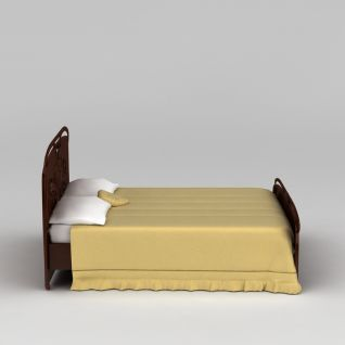 简约双人床3d模型