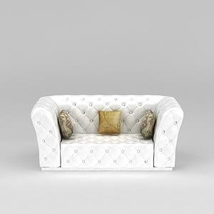 简欧白色沙发模型