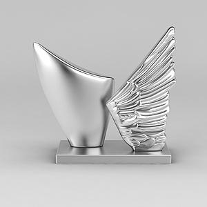 银翅膀摆件模型