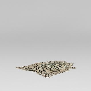 仿真虎皮毯子3d模型