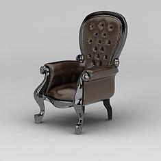 美式皮沙发椅3D模型3d模型