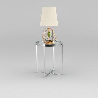 不锈钢边几台灯组合3d模型3d模型