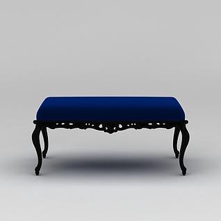美式床尾凳3d模型