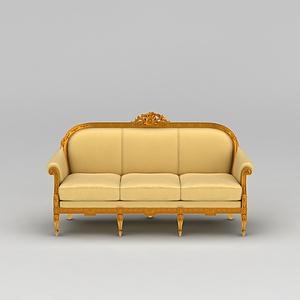 黄色三人沙发模型3d模型