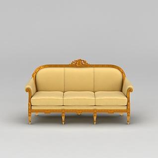 黄色三人沙发3d模型3d模型