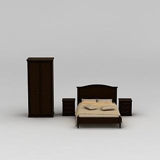 卧室床柜组合3d模型