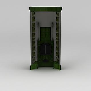 绿色壁炉3d模型