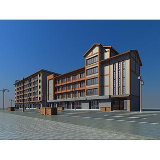 中式沿街改造建筑3d模型