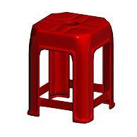 红色塑料凳子3D模型3d模型