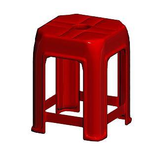 红色塑料凳子3d模型
