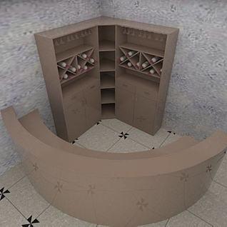 酒柜吧台组合3d模型