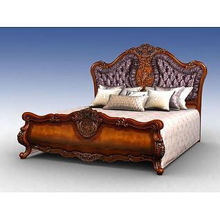 海华美式软包床3d模型