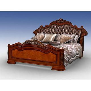 美式实木床3d模型