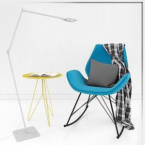 休閑椅子落地燈組合模型
