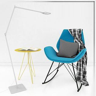 休闲椅子落地灯组合3d模型