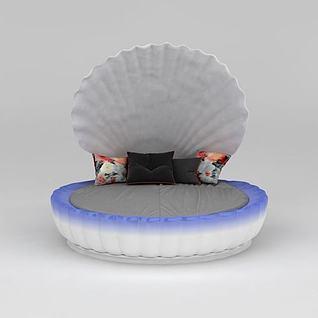 贝壳双人床3d模型