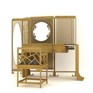 竹质折屏梳妆桌3d模型