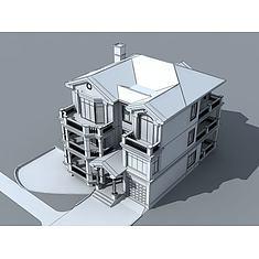 简欧别墅3D模型3d模型