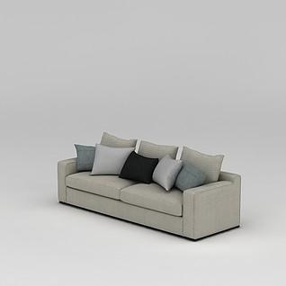 客厅简约长沙发3d模型3d模型