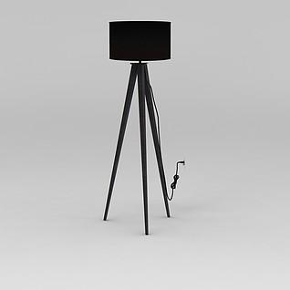 黑色简约落地灯3d模型