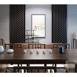 中式餐桌椅餐边几组合3d模型