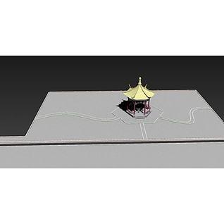 小亭子与园区公路3d模型