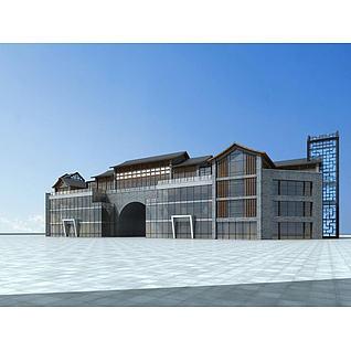 现代中式门楼3d模型