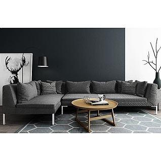 布艺拐角沙发茶几组合3d模型