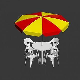 户外休闲伞桌椅组合3d模型