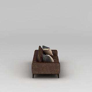咖啡色双人沙发3d模型