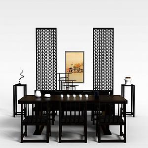 中式餐桌椅餐邊幾組合模型