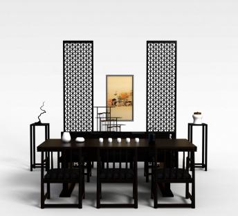 中式餐桌椅餐边几组合