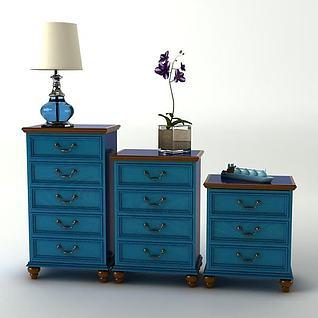 地中海蓝色立柜3d模型