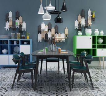 北欧餐桌椅置物柜组合