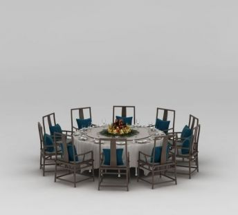 中式多人餐桌椅