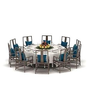 中式多人餐桌椅模型