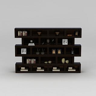 中式书房置物架3d模型