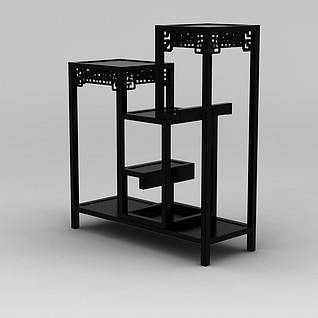中式实木大花架3d模型
