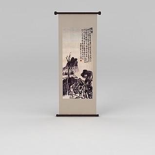 中式卷轴挂画3d模型