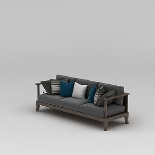 现代中式沙发3d模型