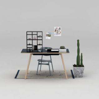 北欧书桌座椅3d模型